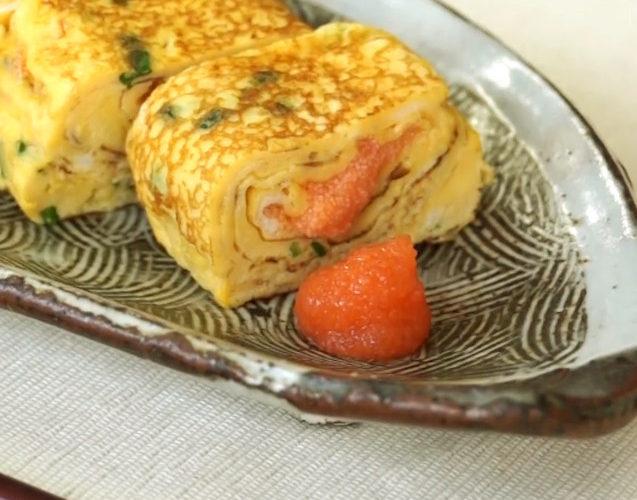 福つぶで作るめんたい卵焼き